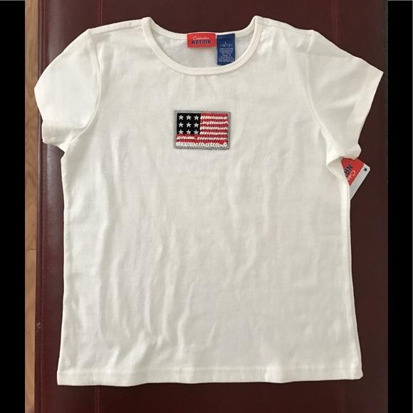 Celebration Nation Other - 👚 CELEBRATION NATION kid's tee, sequin flag NWT